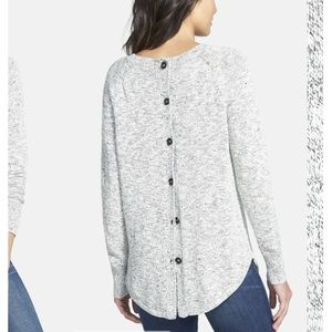 Madewell Marled back button sweater Sm